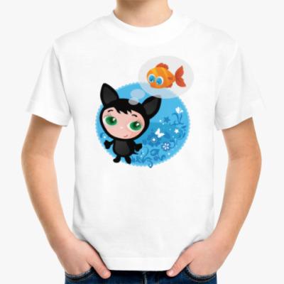 Детская футболка Котенок мечтающий о рыбке