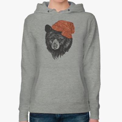 Женская толстовка худи Медведь в шапке