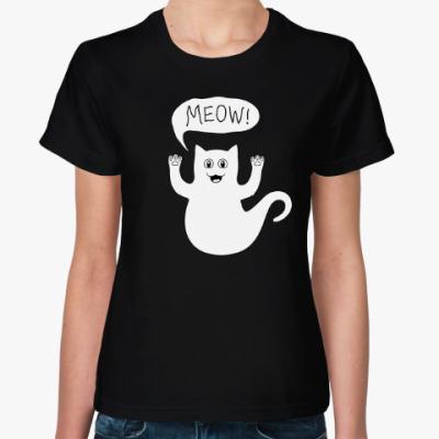 Женская футболка Призрачный кот