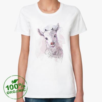 Женская футболка из органик-хлопка Акварельная козочка