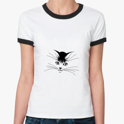 Женская футболка Ringer-T  Киска