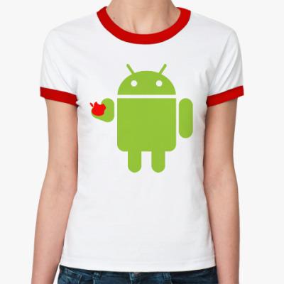 Женская футболка Ringer-T Андроид с яблоком