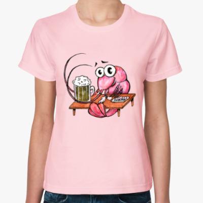 Женская футболка Креветка с пивом