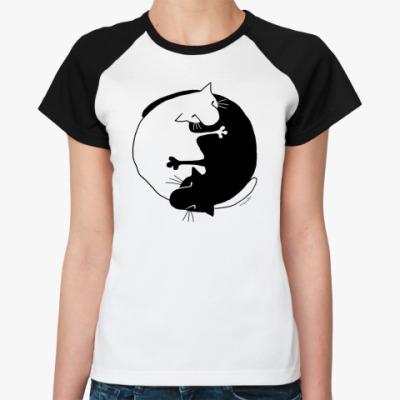 Женская футболка реглан  реглан ж Инь-Ян