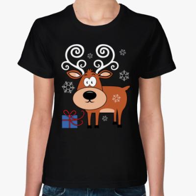 Женская футболка Олень с подарком