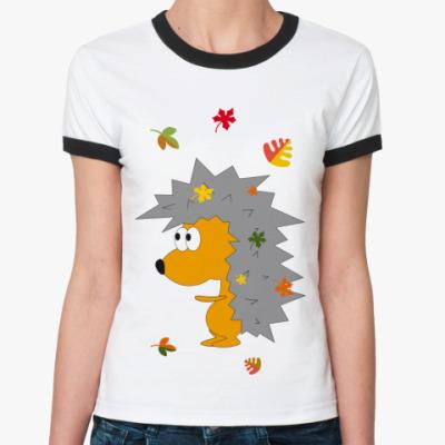 Женская футболка Ringer-T   Ежик-ежик