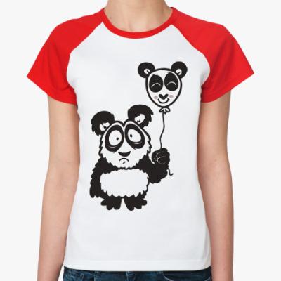 Женская футболка реглан Панда с шариком
