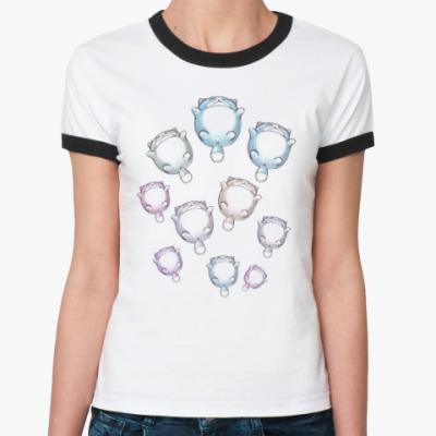 Женская футболка Ringer-T Круглые котики