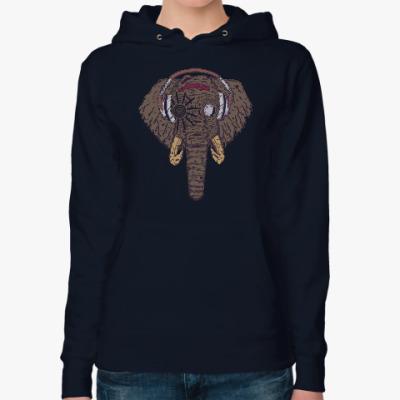 Женская толстовка худи Слон в наушниках