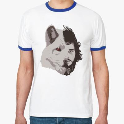 Футболка Ringer-T Волк Джон Сноу