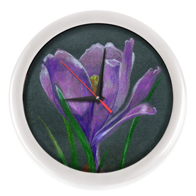 Настенные часы Ручной рисунок цветок крокус