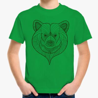Детская футболка голова медведя