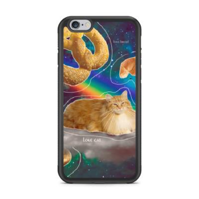 Чехол для iPhone Космический кот на облаке