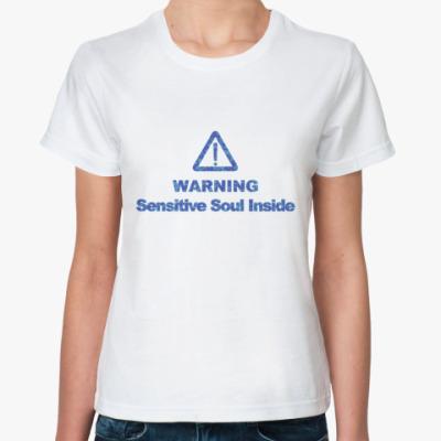 Классическая футболка  Warning!