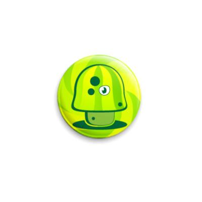 Значок 25мм Зеленый злой гриб-кислотник