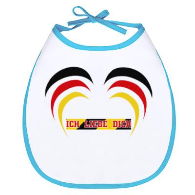 Слюнявчик Я люблю тебя по-немецки