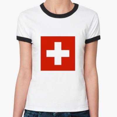 Женская футболка Ringer-T  Швейцария