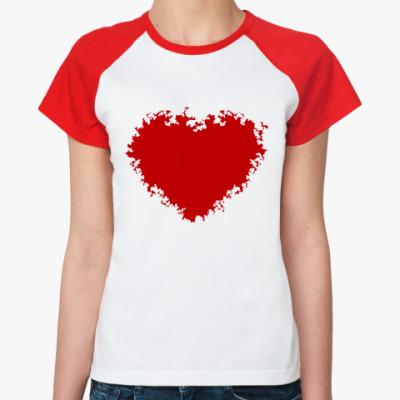 Женская футболка реглан Красное сердце