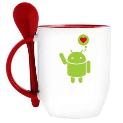 Кружка с ложкой Love Android