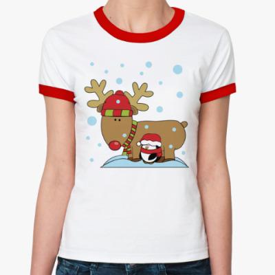 Женская футболка Ringer-T Новогодний олень и пингвин