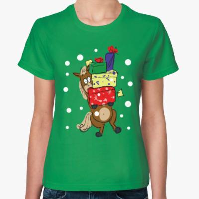 Женская футболка Новогодняя лошадь с подарками