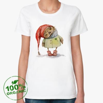 Женская футболка из органик-хлопка Совушка в шапочке