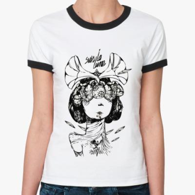 Женская футболка Ringer-T  Suis La Lune