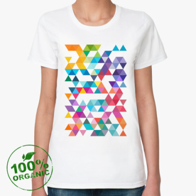 Женская футболка из органик-хлопка Разноцветные треугольники