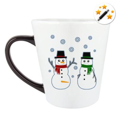 Кружка-хамелеон Happy Snowman
