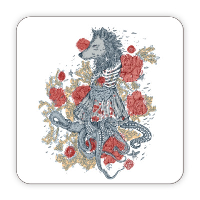 Костер (подставка под кружку) Волк-девушка-осьминог