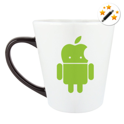 Кружка-хамелеон Андроид голова-яблоко