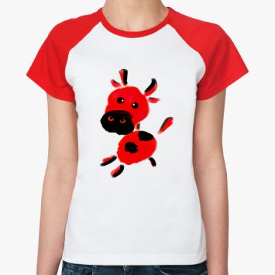 Женская футболка реглан телёнок