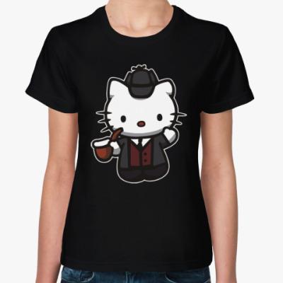 Женская футболка Китти Шерлок