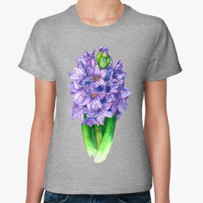 Женская футболка Цветок гиацинт акварель