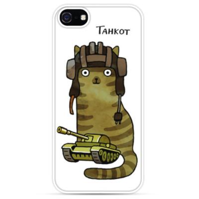 Чехол для iPhone кот танкист и танк