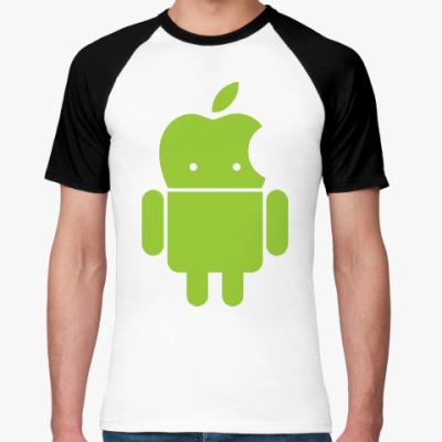 Футболка реглан Андроид голова-яблоко