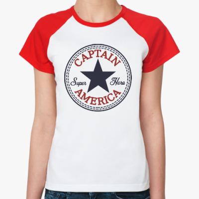 Женская футболка реглан Супер герой