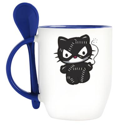 Кружка с ложкой Китти Женщина-кошка