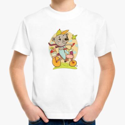 Детская футболка медведь на велосипеде