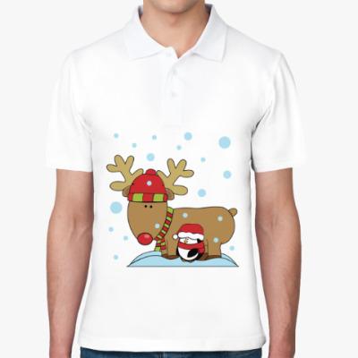 Рубашка поло Новогодний олень и пингвин