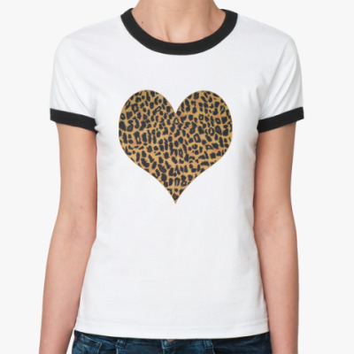 Женская футболка Ringer-T   LEOPARD HEART