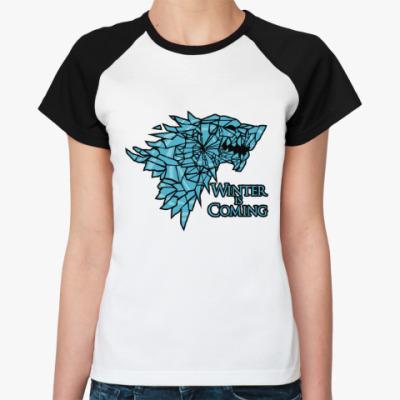 Женская футболка реглан Игра престолов Герб Старков