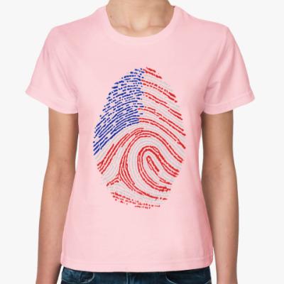 Женская футболка USA отпечаток