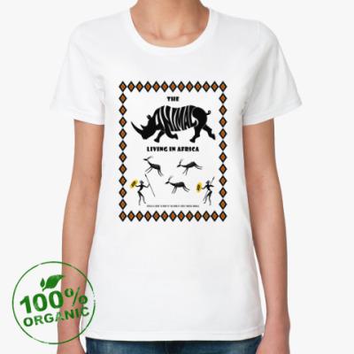 Женская футболка из органик-хлопка The animals living in Africa