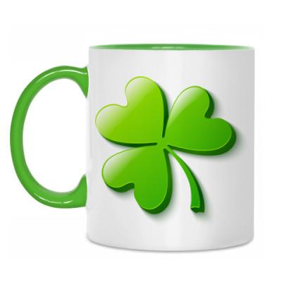 Кружка Зеленый объемный клевер