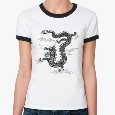 Женская футболка Ringer-T Китайский дракон