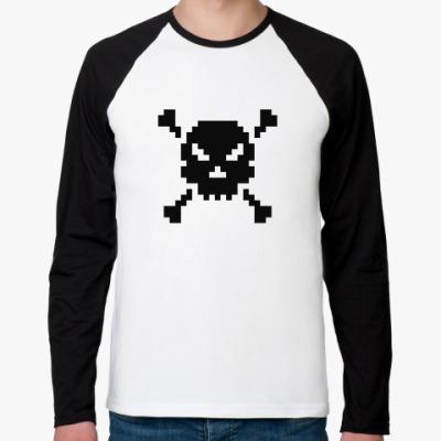 Футболка реглан с длинным рукавом Pixel Skull
