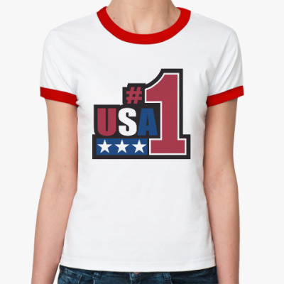 Женская футболка Ringer-T USA 1