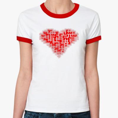 Женская футболка Ringer-T Кроссворд_пятно