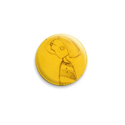 Значок 25мм значок с жёлтой девкой.